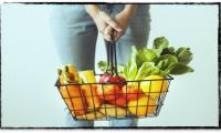 Grocery basket with produce